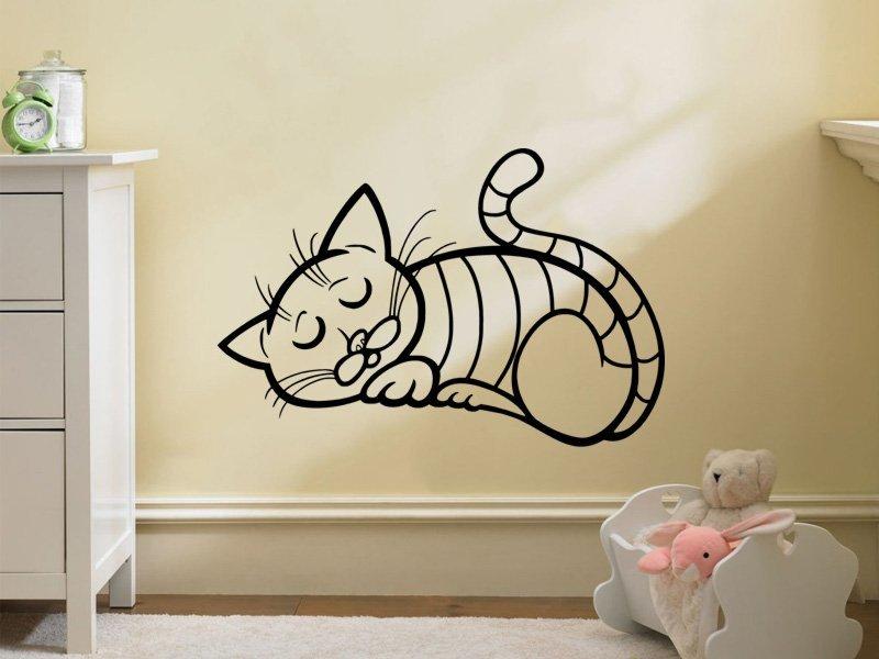 Samolepky na zeď Kočička 0516 - Samolepící dekorace a nálepka na stěnu