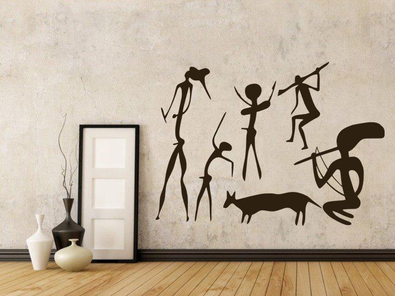 Samolepky na zeď Jeskynní lidé 001 - Samolepící dekorace a nálepka na stěnu