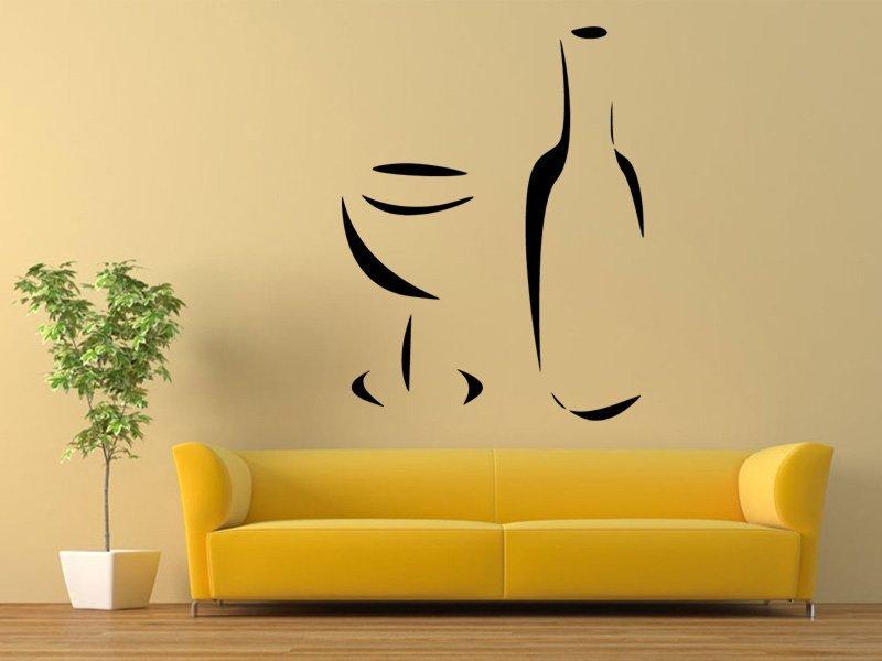 Samolepky na zeď Lahev a sklenička 0162 - Samolepící dekorace a nálepka na stěnu