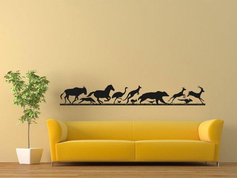 Samolepky na zeď Běžící zvířata 001 - Samolepící dekorace a nálepka na stěnu