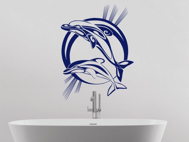 Samolepky na zeď Pár delfínů 001 - Samolepící dekorace a nálepka na stěnu