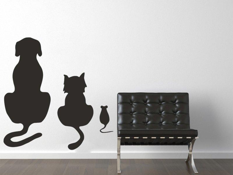 Samolepky na zeď Kočka a pes 002 - Samolepící dekorace a nálepka na stěnu