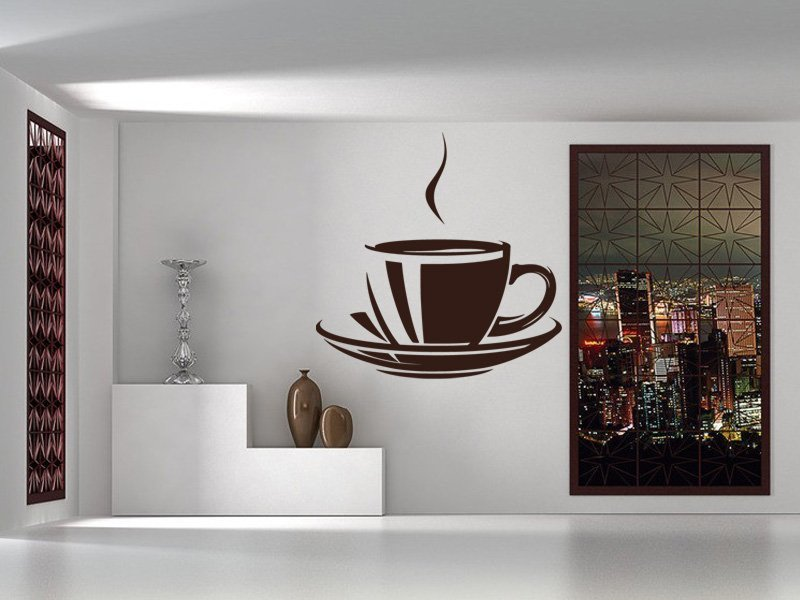 Samolepky na zeď Hrnek kávy 0058 - Samolepící dekorace a nálepka na stěnu