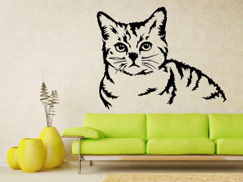 Samolepky na zeď Kočka 0483 - Samolepící dekorace a nálepka na stěnu