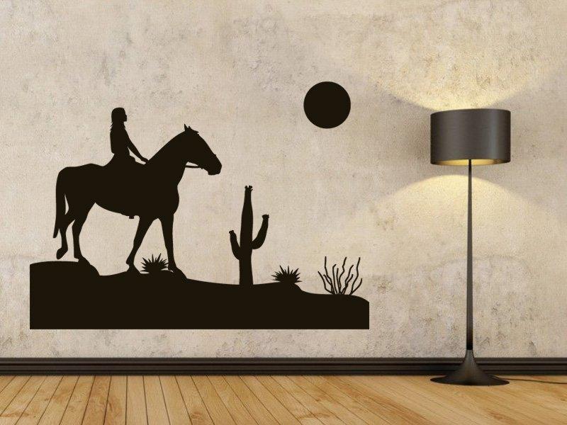Samolepky na zeď Dívka na koni 001 - Samolepící dekorace a nálepka na stěnu