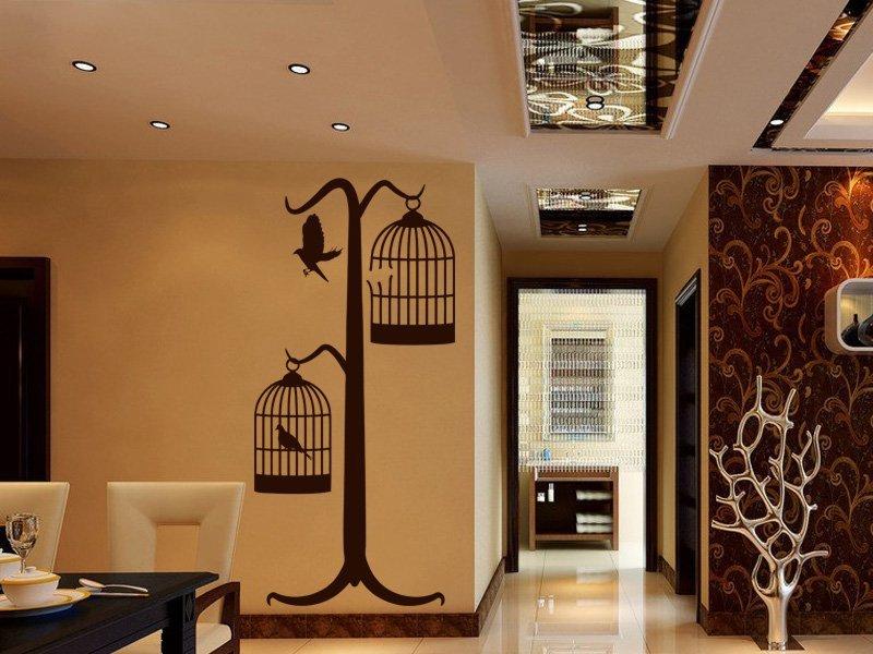 Samolepky na zeď Ptáci v kleci 001 - Samolepící dekorace a nálepka na stěnu