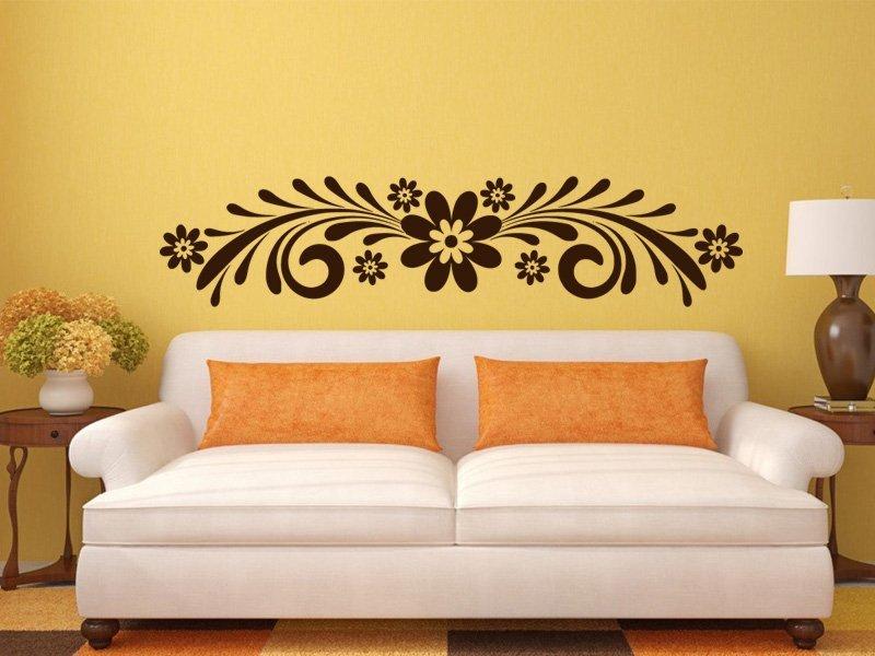 Samolepky na zeď Ornament s květinami 0179 - Samolepící dekorace a nálepka na stěnu