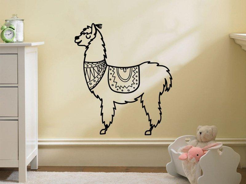 Samolepky na zeď Lama kresba 0622 - Samolepící dekorace a nálepka na stěnu