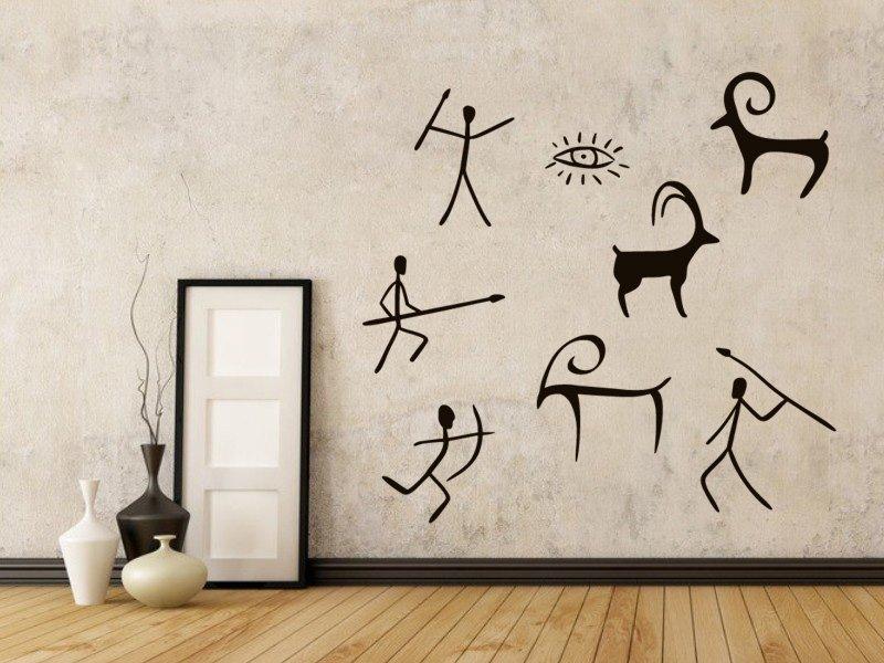 Samolepky na zeď Jeskynní lidé 005 - Samolepící dekorace a nálepka na stěnu