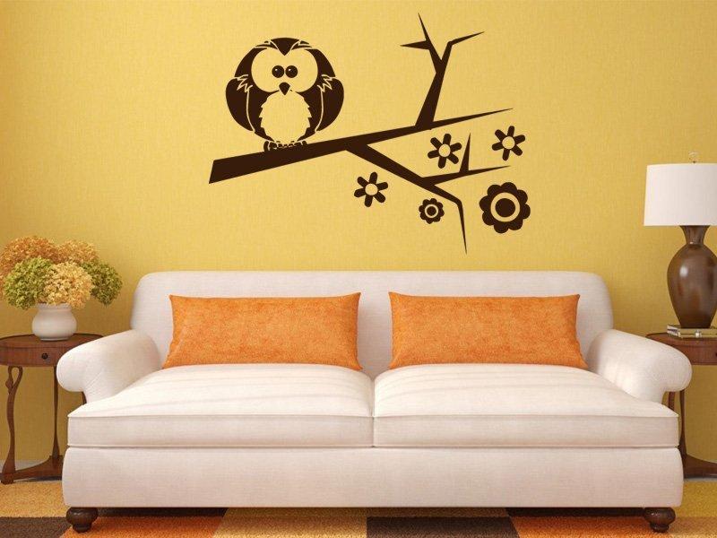 Samolepky na zeď Větev s ptáky 002 - Samolepící dekorace a nálepka na stěnu