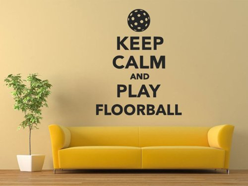 Samolepky na zeď Keep calm and play floorball 1117