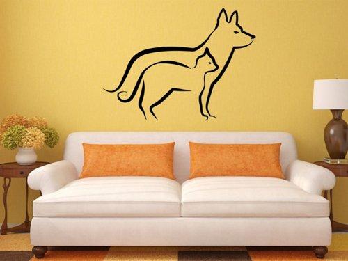 Samolepky na zeď Kočka a pes 0562