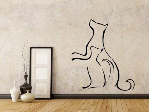 Samolepky na zeď Kočka a pes 0538