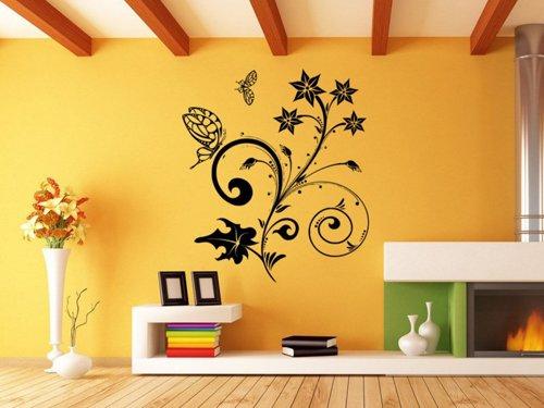 Samolepky na zeď Květiny s motýly 018