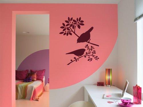 Samolepky na zeď Ptáci na větvích 001