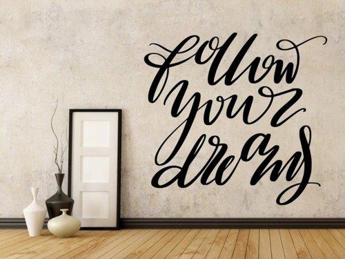 Samolepky na zeď Nápis Follow your dreams 0646