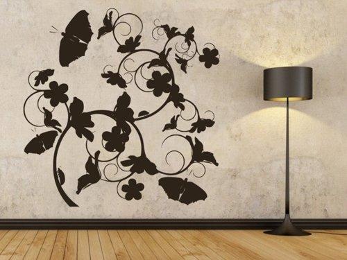 Samolepky na zeď Květiny s motýly 020