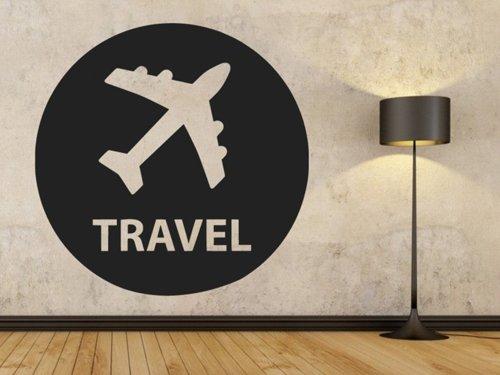 Samolepky na zeď Letadlo s nápisem travel 0872