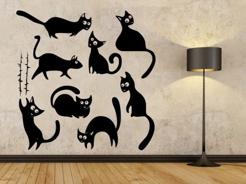 Samolepky na zeď Sada koček 0428