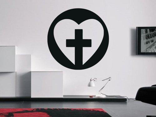 Samolepky na zeď Srdce s křížem 1381