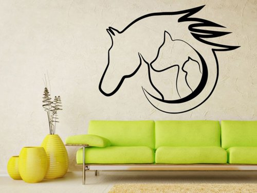 Samolepky na zeď Kočka, pes s kůň 0565
