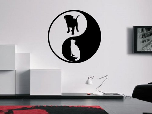 Samolepky na zeď Kočka a pes 0547