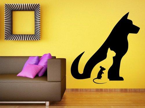 Samolepky na zeď Kočka, pes a myš 0552