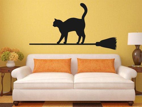 Samolepky na zeď Kočka na koštěti 0501