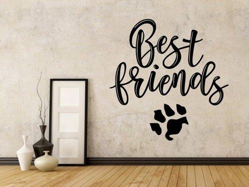Samolepky na zeď Nápis Best friends (with dog) 0661