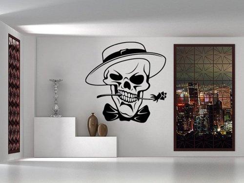 Samolepky na zeď Lebka s růží a kloboukem 1191
