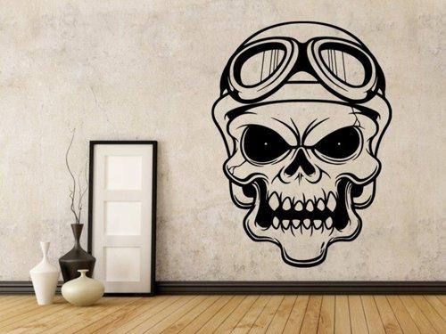 Samolepky na zeď Lebka motorkářská 1029