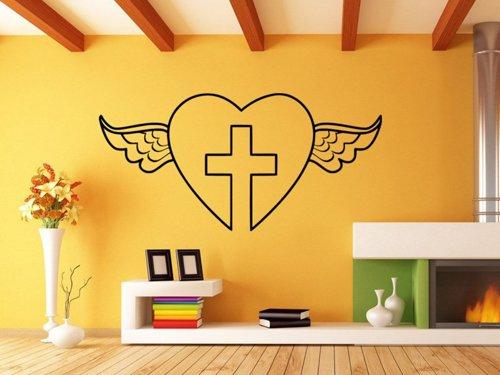 Samolepky na zeď Okřídlené srdce s křížem 1380