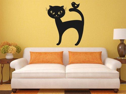 Samolepky na zeď Kočka a ptáček 0459