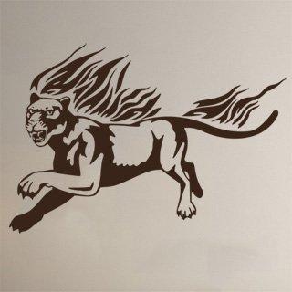 Samolepka Tygr s plameny 003 - 120x82 cm