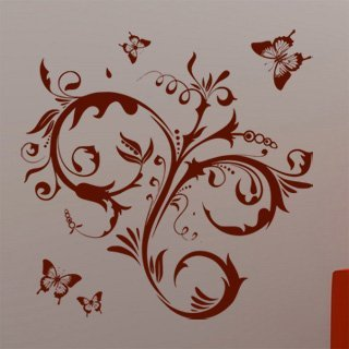 Samolepka na zeď Květiny s motýly 010 - 80x80 cm
