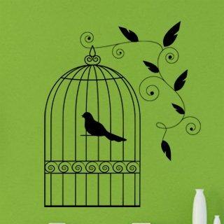 Samolepka na zeď Ptáci v kleci 003 - 60x72 cm