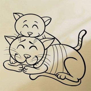 Samolepka na zeď Dvě kočičky 0532 - 69x60 cm