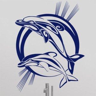 Samolepka na zeď Pár delfínů 001 - 80x106 cm