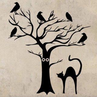 Samolepka na zeď Kočka a strom 0500 - 90x100 cm