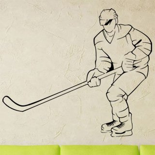 Samolepka na zeď Hokejista 0606 - 70x60 cm