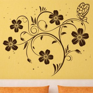 Samolepící dekorace Květiny s motýly 017 - 120x103 cm