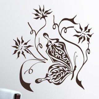 Samolepka na zeď Květiny s motýly 001 - 60x64 cm