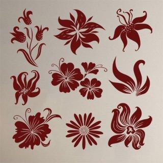 Samolepka na zeď Sada květin 001 - 102x100 cm