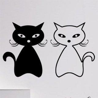 Samolepka na stěnu Dvě kočky 0448 - 203x120 cm