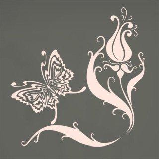 Nálepka na zeď Květiny s motýly 007 - 120x125 cm