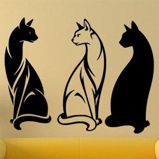 Samolepka na stěnu Tři kočky 0458 - 155x120 cm