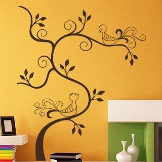 Samolepící dekorace Větev s ptáky 009 - 120x145 cm