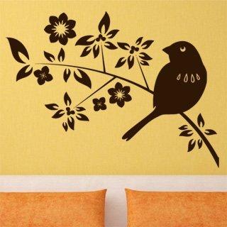 Samolepka na zeď Ptáci na větvích 002 - 82x60 cm
