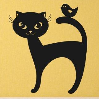 Samolepka Kočka a ptáček 0459 - 80x92 cm