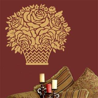 Samolepka na zeď Košík s růžemi 001 - 64x60 cm